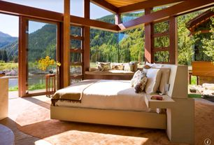 Contemporary Master Bedroom with Exposed beam, Concrete floors, High ceiling, Solarlux wooden patio door sliding sl 65-hsw