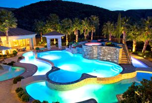 Tropical Swimming Pool with Fire pit, exterior stone floors, Arbor, Fence, French doors
