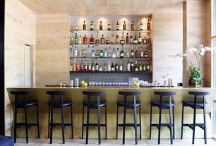 Contemporary Bar with Hardwood floors, can lights, specialty door, Standard height, picture window, Built-in bookshelf