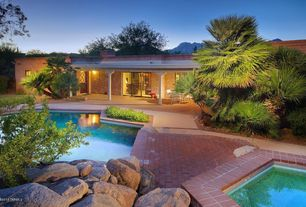 Traditional Swimming Pool with Pathway, Pool with hot tub, Glass panel door, exterior brick floors