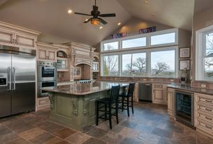 Country Kitchen with Built In Refrigerator, electric cooktop, U-shaped, Limestone Tile, slate tile floors, full backsplash