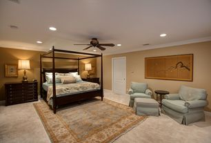 Traditional Master Bedroom with Built-in bookshelf, Carpet, Ceiling fan, Crown molding