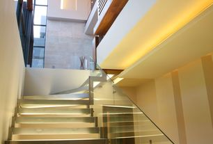 Contemporary Staircase with picture window, curved staircase, Loft, High ceiling