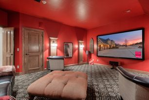 Eclectic Home Theater with specialty door, Carpet, Wall sconce