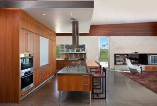 Modern Kitchen with L-shaped, French doors, Breakfast bar, Teak ceiling planks - lumberliquidators.com, Stainless Steel