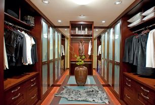 Contemporary Closet with Standard height, Built-in bookshelf, can lights, Hardwood floors