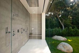 Contemporary Master Bathroom with BLVD Products Bondi Square Ceiling Shower Head, Rain shower, Handheld showerhead