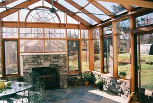 Craftsman Porch with Skylight, specialty window, exterior stone floors, Screened porch, sliding glass door, Casement