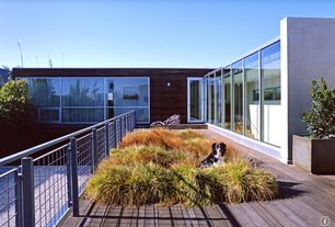 Contemporary Deck with Fence, Deck Railing, Raised beds, picture window