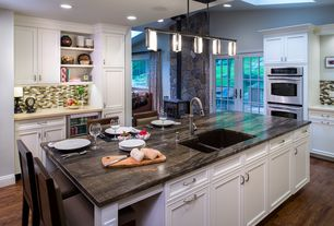 Traditional Kitchen with Merola Tile Tessera Subway Nassau 11-3/4 in. x 12 in. x 8 mm Stone and Glass Mosaic Wall Tile, Flush
