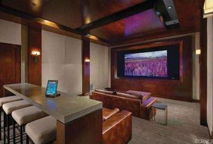 Contemporary Home Theater with Wall sconce, Carpet, Standard height, can lights, interior wallpaper