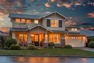 Traditional Exterior of Home with exterior tile floors, picture window, Fence, Pathway, double-hung window, Glass panel door