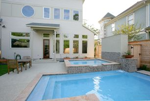 Modern Hot Tub with Pool with hot tub, exterior tile floors, six panel door, Fence, specialty window, French doors, Pathway