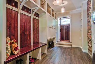 Traditional Mud Room with Crown molding, Glass panel door, Pendant light, Hardwood floors, Built-in bookshelf