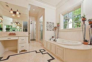 "Traditional Master Bathroom with Emser Tile Natural Stone 12"" x 12"" Marble Tile in Crema Marfil Classico, Corian counters"