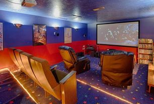 Contemporary Home Theater with bedroom reading light, Carpet, Wall sconce, Standard height