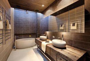 Contemporary Master Bathroom with Pental - urban collection porcelain tile in terra matte, Rain shower, limestone floors