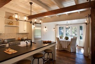 Country Kitchen with Shaw-3/8 in. x 3-1/4 in., 5 in. and 7 in. Hand Scraped Hickory Drury Lane Carmel Engineered Hardwood