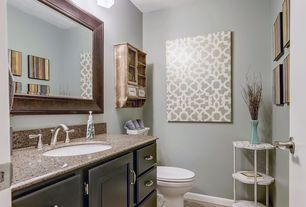 Traditional Powder Room with Undermount sink, Simple granite counters, Inset cabinets, Simple Granite, Raised panel