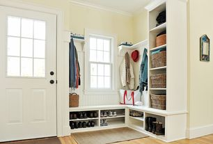 Traditional Mud Room with double-hung window, Crown molding, Kami shoe bench white, Window seat, Paint, Built-in bookshelf