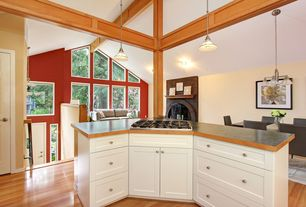 Traditional Kitchen with Paint 1, 5 light chandelier, Formica counters, Wilsonart laminate countertop in oiled soapstone