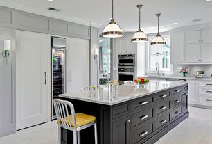 Traditional Kitchen with Complex marble counters, Smooth 1-Panel Solid Core Primed Composite Interior Door Slab, Subway Tile