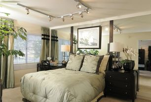 Contemporary Guest Bedroom with Standard height, Carpet, picture window, flush light
