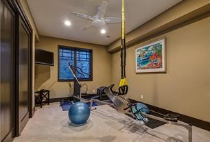 Contemporary Home Gym with Carpet, Built-in bookshelf, Ceiling fan