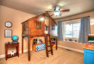Eclectic Kids Bedroom with Carpet, Art desk, Winsome shaker 1 drawer nightstand, Kids Tree Fort Loft Bed, Ceiling fan