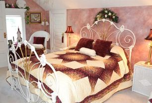 Country Guest Bedroom with picture window, Standard height, specialty door, interior wallpaper, Carpet