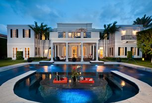 Tropical Swimming Pool with Fountain, French doors, Deck Railing, exterior stone floors, Other Pool Type, Pathway, Casement