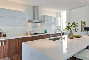 Modern Kitchen with Standard height, full backsplash, Breakfast bar, Corian counters, Flush, One-wall, electric cooktop