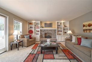 Traditional Living Room with Fireplace, brick fireplace, Carpet, double-hung window, French doors, can lights
