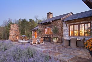 Rustic Patio with Casement, exterior stone floors, Arched window