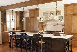 Country Kitchen with Crown molding, Breakfast bar, Interior plantation shutters, Ms international carrara white marble