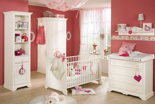 Traditional Kids Bedroom with Savannah Shelving Unit with Drawer Pure White, Sleigh Crib (White), Crown molding