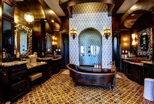 Eclectic Master Bathroom with frameless showerdoor, Shower, partial backsplash, Master bathroom, French doors, Inset cabinets