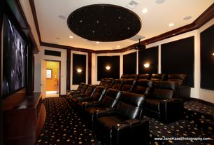 Modern Home Theater with can lights, Built-in bookshelf, Crown molding, Wall sconce, Carpet, specialty door, Standard height
