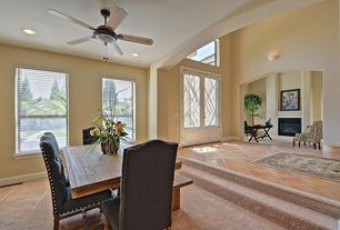 Traditional Entryway with French doors, Wall sconce, terracotta tile floors, High ceiling