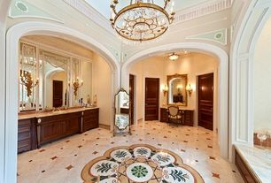 Traditional Master Bathroom with Crown molding, wall-mounted above mirror bathroom light, Pendant light, Flat panel cabinets