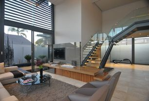 Modern Living Room with Pental - Parc Porcelain in Crema Luna Matte, High ceiling, Neo Corner Sofa, simple marble tile floors