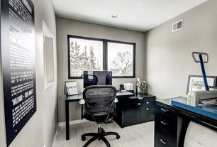 Modern Home Office with Standard height, Forestry Mix - White Washed 12 mm Laminate Wood Look, Paint, Casement, can lights