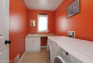 Laundry Room with Kitchen Craft,Bristol Cabinet Door Style, Swanstone veritek drop-in laundry sink, travertine tile floors