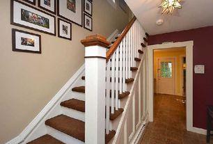 Traditional Hallway with Glass panel door, flush light, Standard height, stone tile floors, travertine tile floors