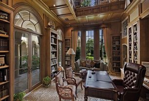 Traditional Home Office with Arched window, Built-in bookshelf, Carpet, French doors, Box ceiling