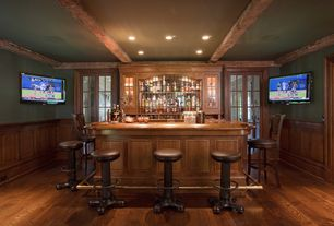 Traditional Bar with Wainscotting, Box ceiling, Hardwood floors, French doors