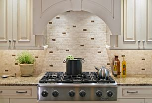 Traditional Kitchen with Distressed paint, Ms international - autumn beige, Complex granite counters, Raised panel