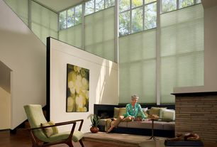 Contemporary Living Room with Hardwood floors, High ceiling