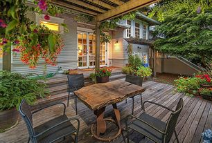 Traditional Deck with Paint, Casement, Outdoor dining area, French doors, Trellis, Wall sconce