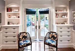 Traditional Master Bedroom with High ceiling, French doors, Roman shades, Paint, Built-in bookshelf, Hardwood floors